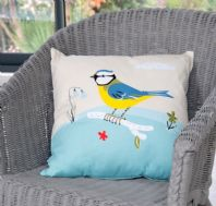 Beautiful 'Bluebells & Blue Tits' Design Cotton Cushion And Pad